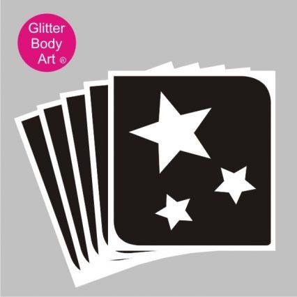 triple stars temporary tattoo stencil