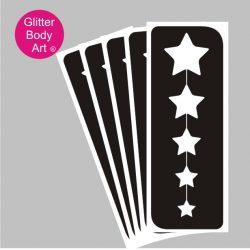 straight line of stars temporary tattoo stencil