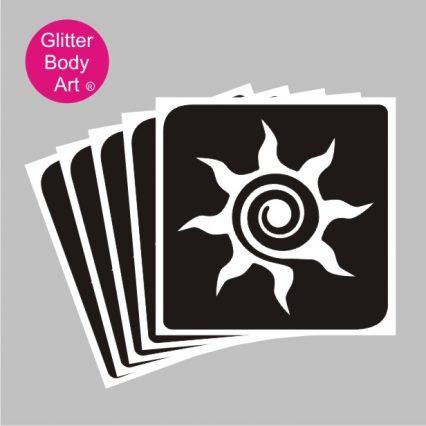 swirly sun temporary tattoo stencil