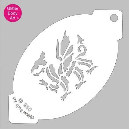welsh dragon facepaint stencil, welsh rugby dragon stencil template