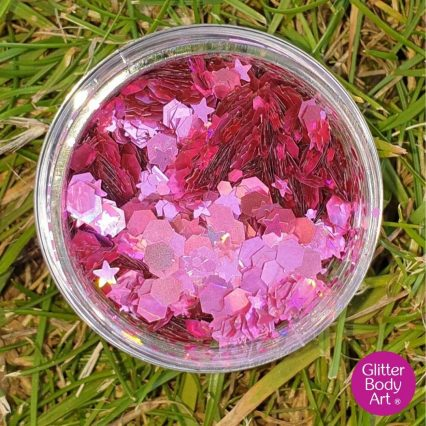 pink holographic festival glitter, chunky glitter makeup for the face or hair