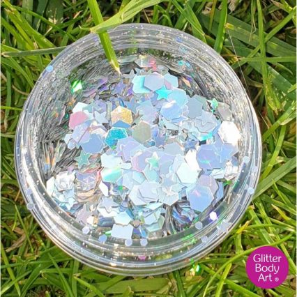 holographic silver chunky festival glitter makeup for face and hair