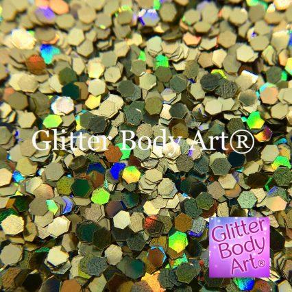 medium sized hexagon holographic glitter shapes