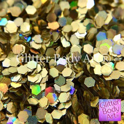 large holographic hexagon shape gold glitter