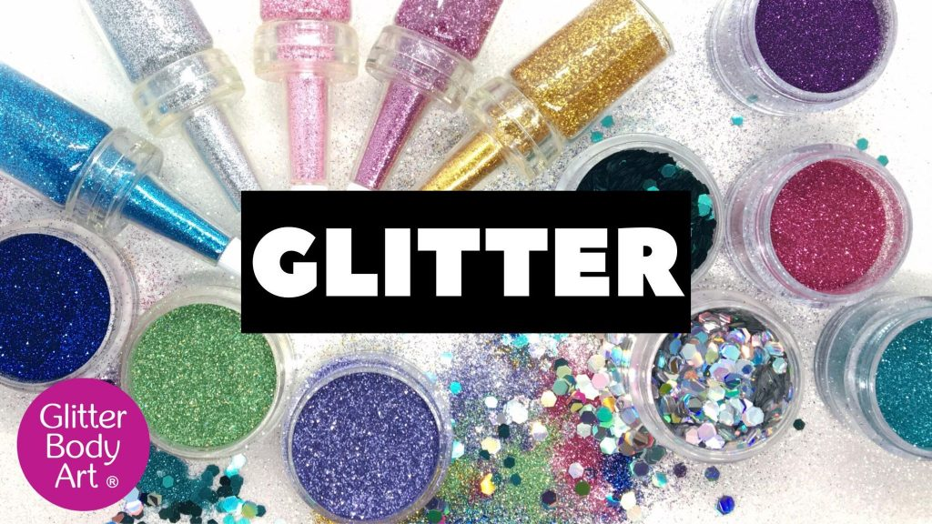 selection of body glitters in jars and puffer bottles