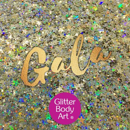 gold festival glitter makeup mix with gold holographic stars and hexagon shapes