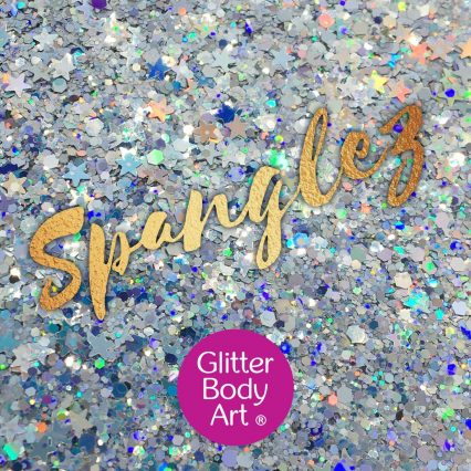 silver chunky festival glitter makeup for the face with holographic silver stars and holographic shapes