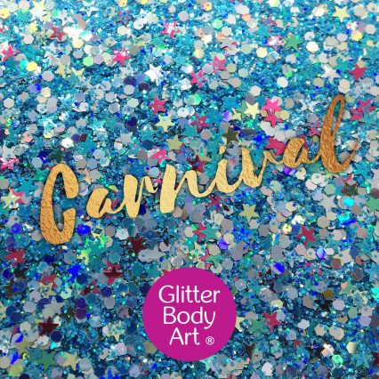 chunky festival glitter makeup for the face with stars and holograhic hexagon shapes