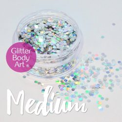silver hexagon chunky holographic glitter shapes for eye makeup