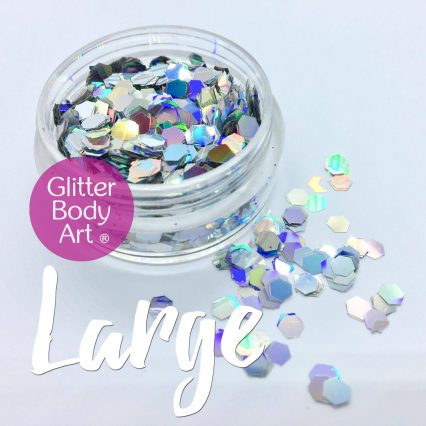 silver chunky holographic festival glitter makeup shapes