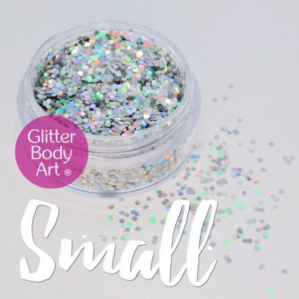 small chunky holographic silver glitter hexagon shapes