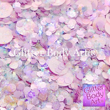 candy floss pink chunky festival glitter makeup