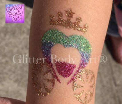 princess carriage glitter tattoo, princess party temporary tattoos