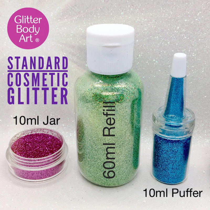 collection of body glitter sizes including jar, puffer bottle and 60ml refill