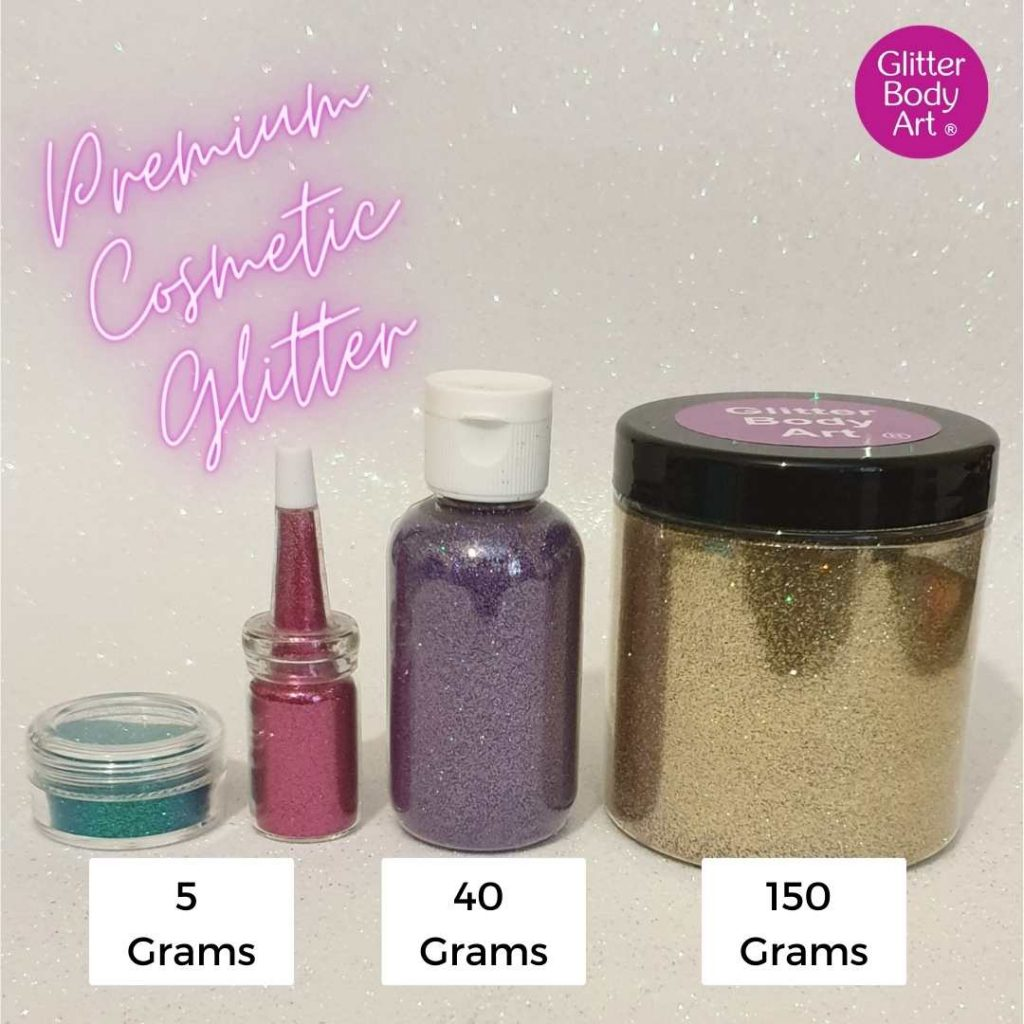 Collectioin of premium cosmetic glitter sizes from 4 grams to 150 grams refill glitter, bulk buy glitter