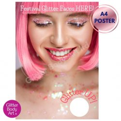 Girl with pink hair and glitter face advertising poster for Festival Makeup