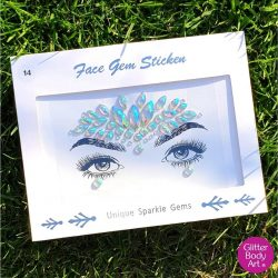 iridescent aura face gem, self-adhesive face gems