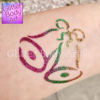 christmas bells temporary tattoo stencil, christmas glitter tattoos