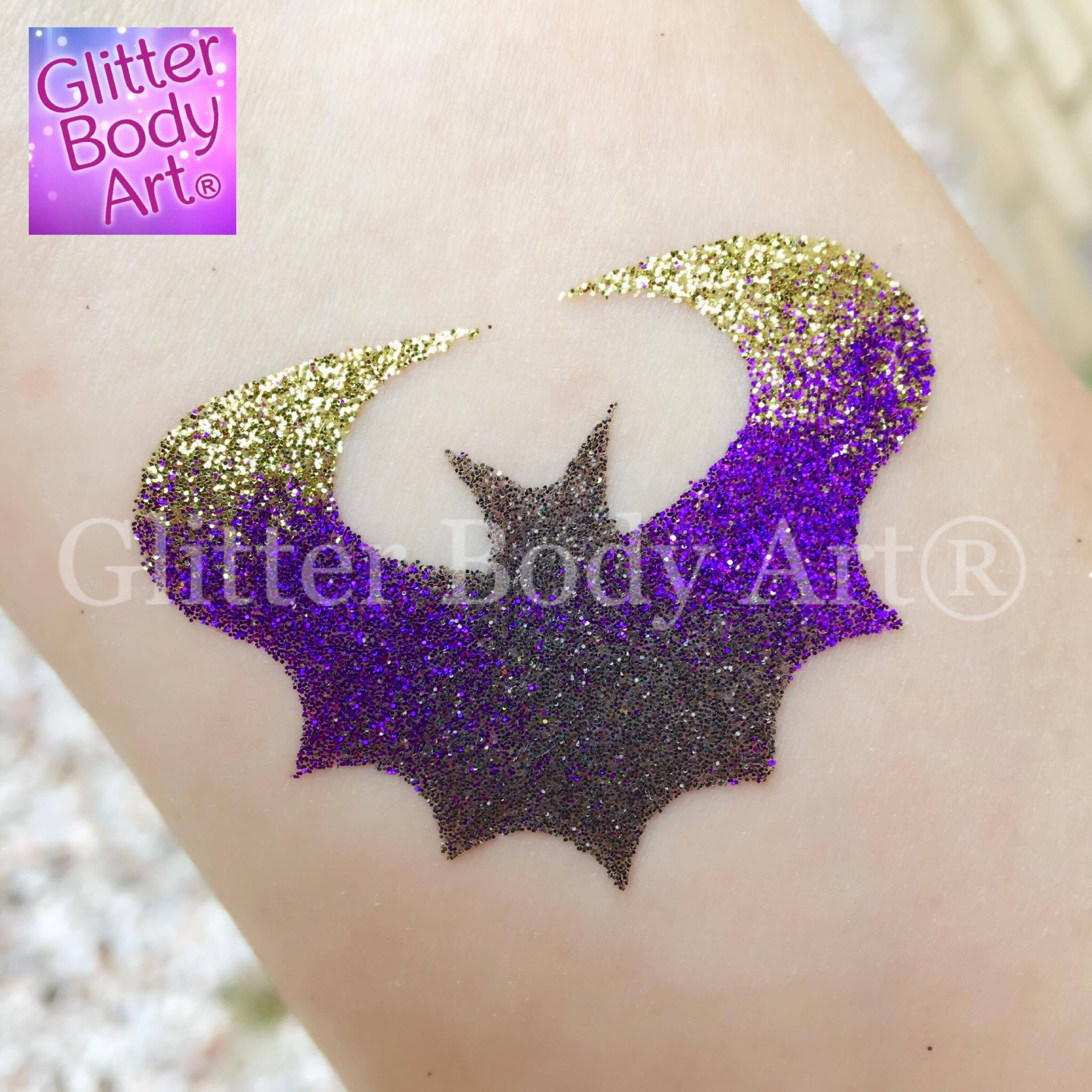 bat temporary tattoo stencil, batman glitter tattoos for boys birthday party idea