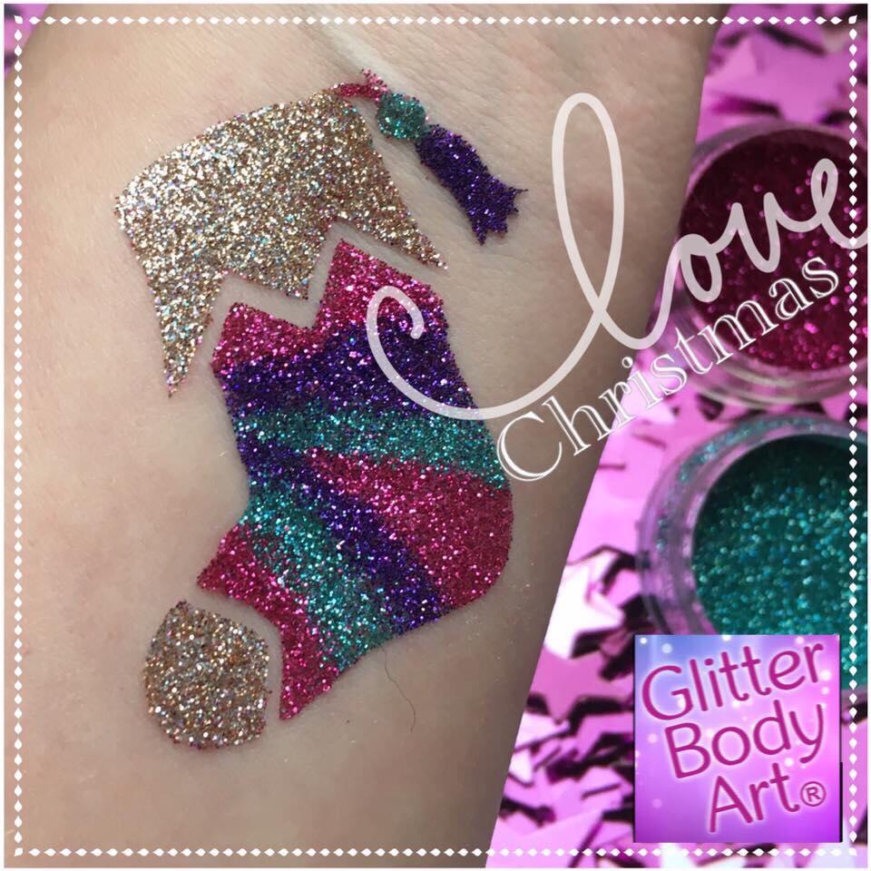 christmas stocking glitter tattoo, christmas temporary tattoo stencils for kids