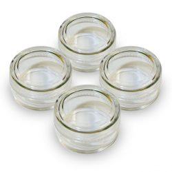 4 Empty glitter jars, clear jars with screw top lids, 5 gram glitter jars