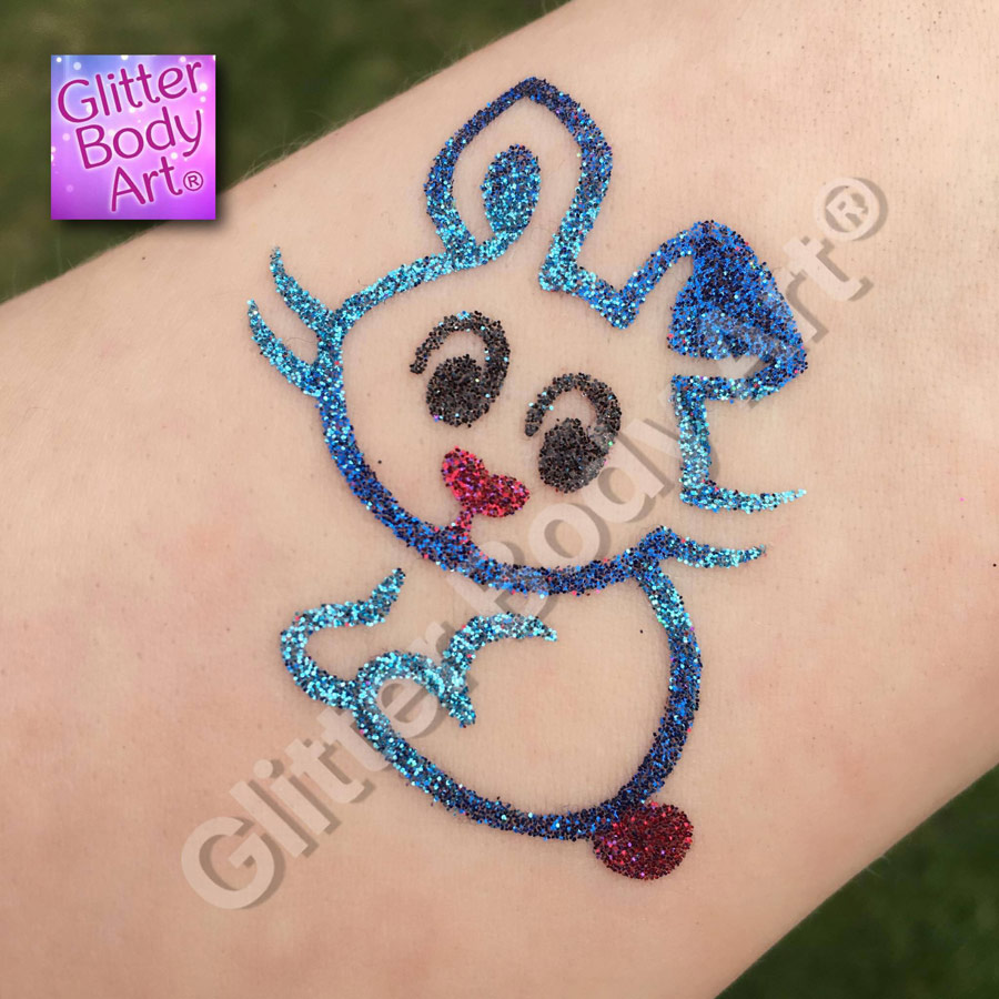 Easter bunny glitter tattoo stencil, easter temporary tattoos for kids