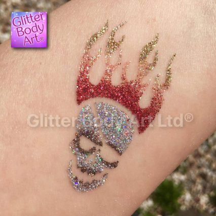 skull and flame temporary tattoo stencil, boys glitter tattoos