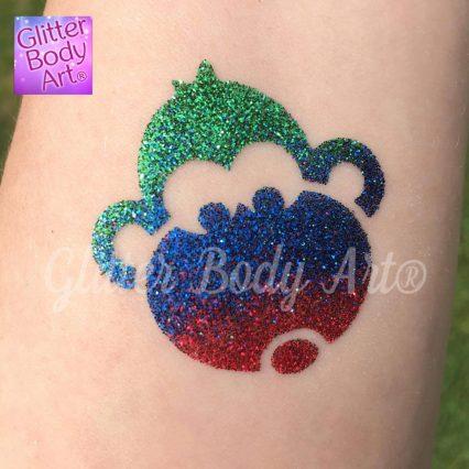 monkey glitter tattoo, jungle temporary tattoo stencils