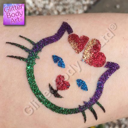 cat with hearts temporary tattoo stencil for glitter tattoos