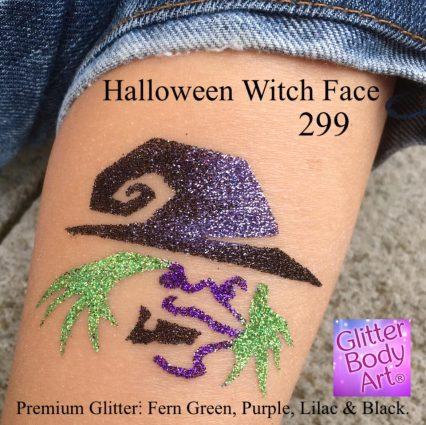 halloween witch glitter tattoo, halloween temporary tattoo stencils