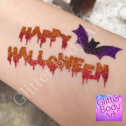 happy halloween glitter tattoo, halloween temporary tattoos