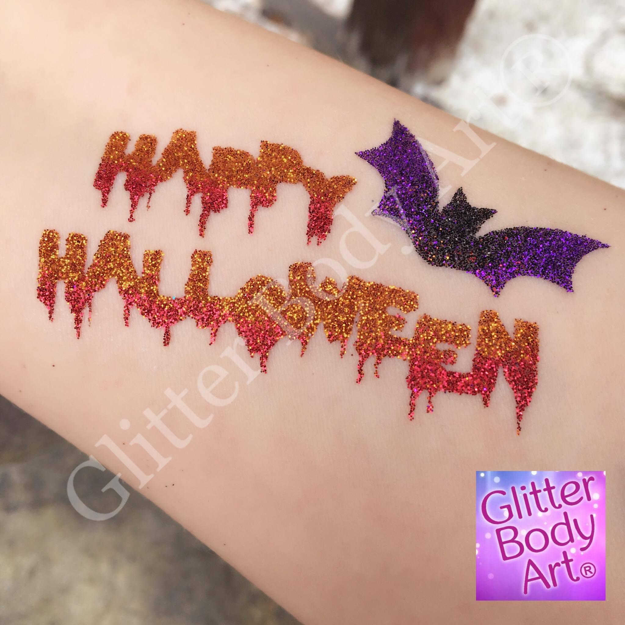 happy halloween glitter tattoo, halloween temporary tattoos