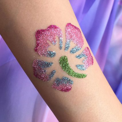Hibiscus glitter tattoo, floral temporary tattoo stencils