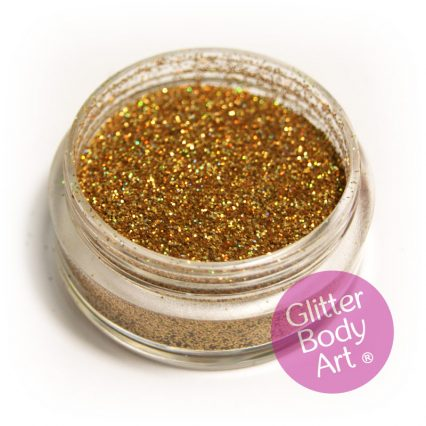 holographic gold face and body glitter jar of loose cosmetic gold glitter for makeup