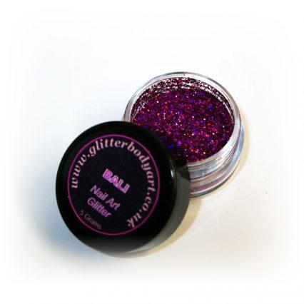Bright pink chunky holographic nail art glitter jar
