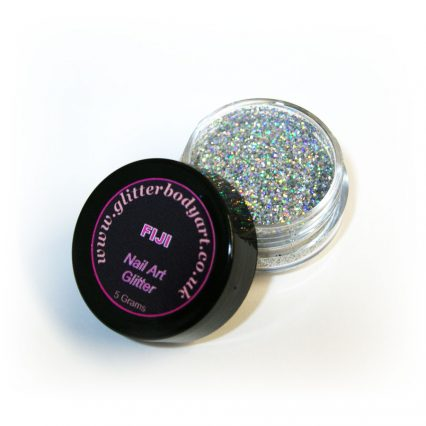 Silver holographic chunky nail art glitter jar for nail techs