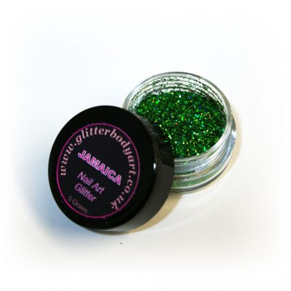 Vibrant green holographic chunky nail art glitter, gel and acrylic nails