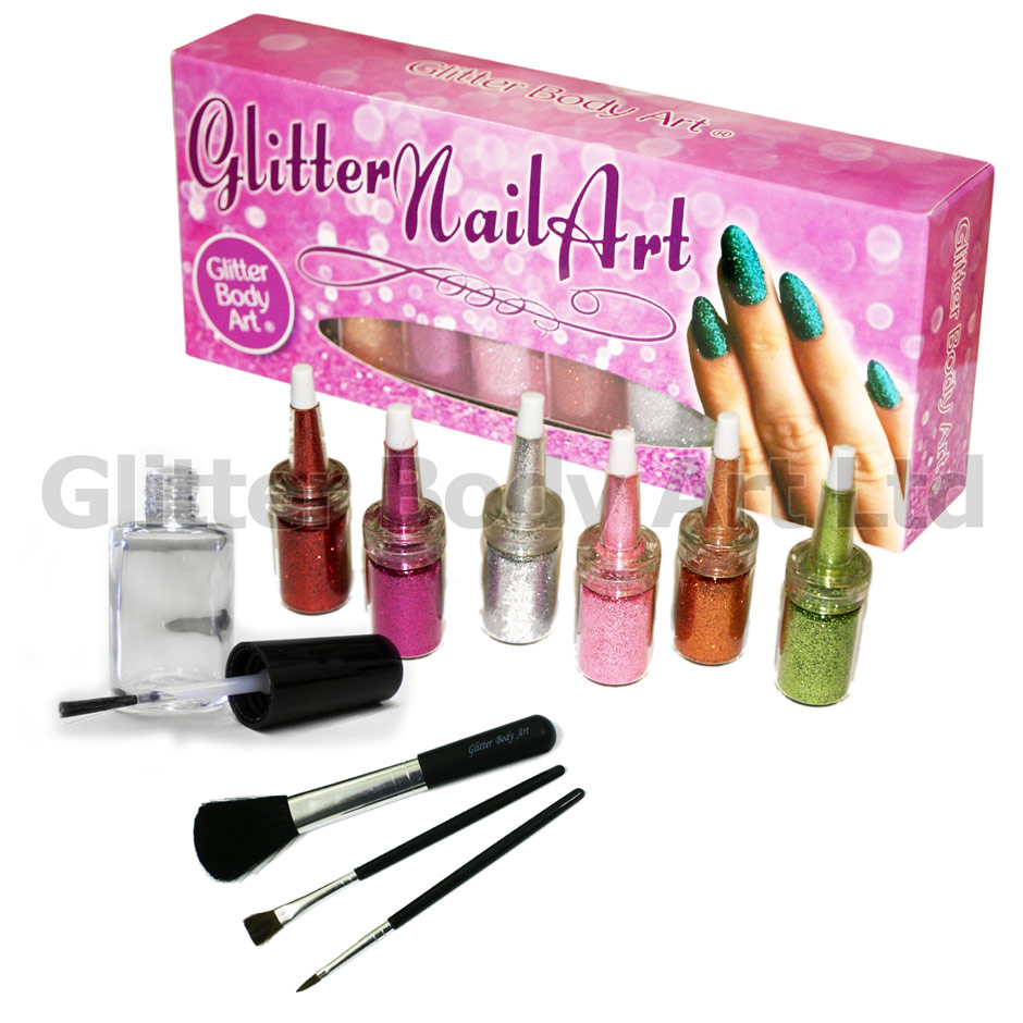 Glitter Nail Art Kit - Temporary Tattoo Store
