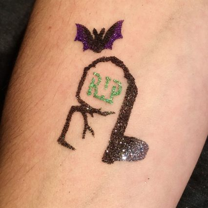 gravestone temporary tattoos for kids, Halloween glitter tattoo