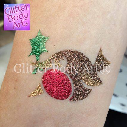 Christmas robin temporary tattoo stencil