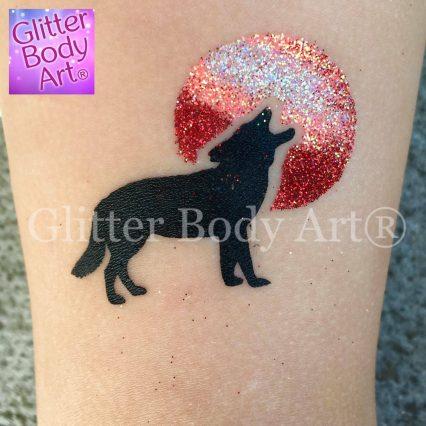 wolf temporary tattoo stencil, Halloween wolf and moon glitter tattoo